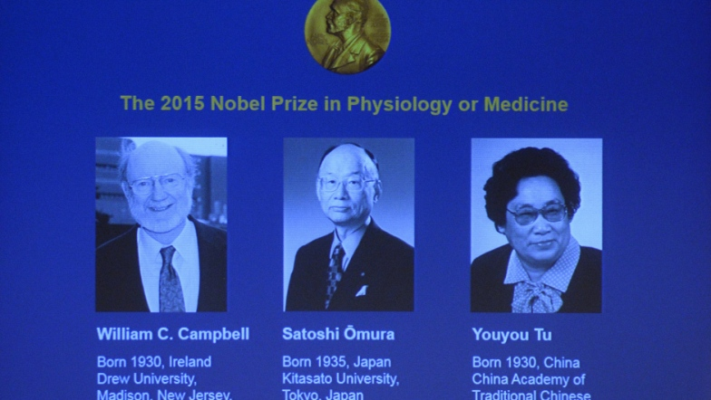 The portraits of the winners of the Nobel Medicine Prize 2015 (L-R) Irish-born William Campbell, Satoshi Omura of Japan and China's Youyou Tu are displayed on a screen during a press conference of the Nobel Committee to announce the winners of the 2015 Nobel Medicine Prize on October 5, 2015 at the Karolinska Institutet in Stockholm, Sweden.    AFP PHOTO / JONATHAN NACKSTRAND        (Photo credit should read JONATHAN NACKSTRAND/AFP/Getty Images)