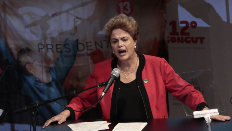 Brazilian President Dilma Rousseff speaks during the 12th Congress of the CUT in Sao Paulo, Brazil on October 13, 2015. AFP PHOTO / Miguel SCHINCARIOL        (Photo credit should read Miguel Schincariol/AFP/Getty Images)