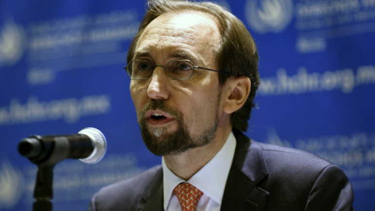 UN High Commissioner for Human Rights Zeid Raad Al Hussein speaks during a press conference in Mexico City on October 7, 2015. Raad Al Hussein is in Mexico on a visit for three days for the Tlatlaya and Ayotzinapa cases.    AFP PHOTO/ALFREDO ESTRELLA        (Photo credit should read ALFREDO ESTRELLA/AFP/Getty Images)