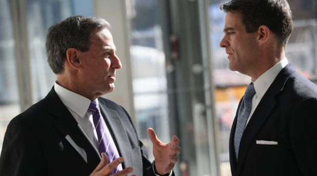 NEW YORK, NY - OCTOBER 24: Mitchell Rudin, (L), President/CEO of U.S. Commercial Operations Brookfield Office Properties speaks with Bill Baroni, the Deputy Executive Director of the Port Authority of New York while at the Brookfield Place Pavilion at the west end of the newly-opened World Trade Center West Concourse pedestrian transit connection on October 24, 2013 in New York City. The underground corridor links the World Trade Center PATH Station on the east end of the concourse to Brookfield Place Pavilion (formerly the World Financial Center), and the Battery Park City Ferry Terminal on the west end of the concourse. The 600-foot long marble corridor, designed by Spanish architect Santiago Calatrava and built by the Port Authority, is the first part of the World Trade Center Transportation Hub to open to the public. (Photo by John Moore/Getty Images)